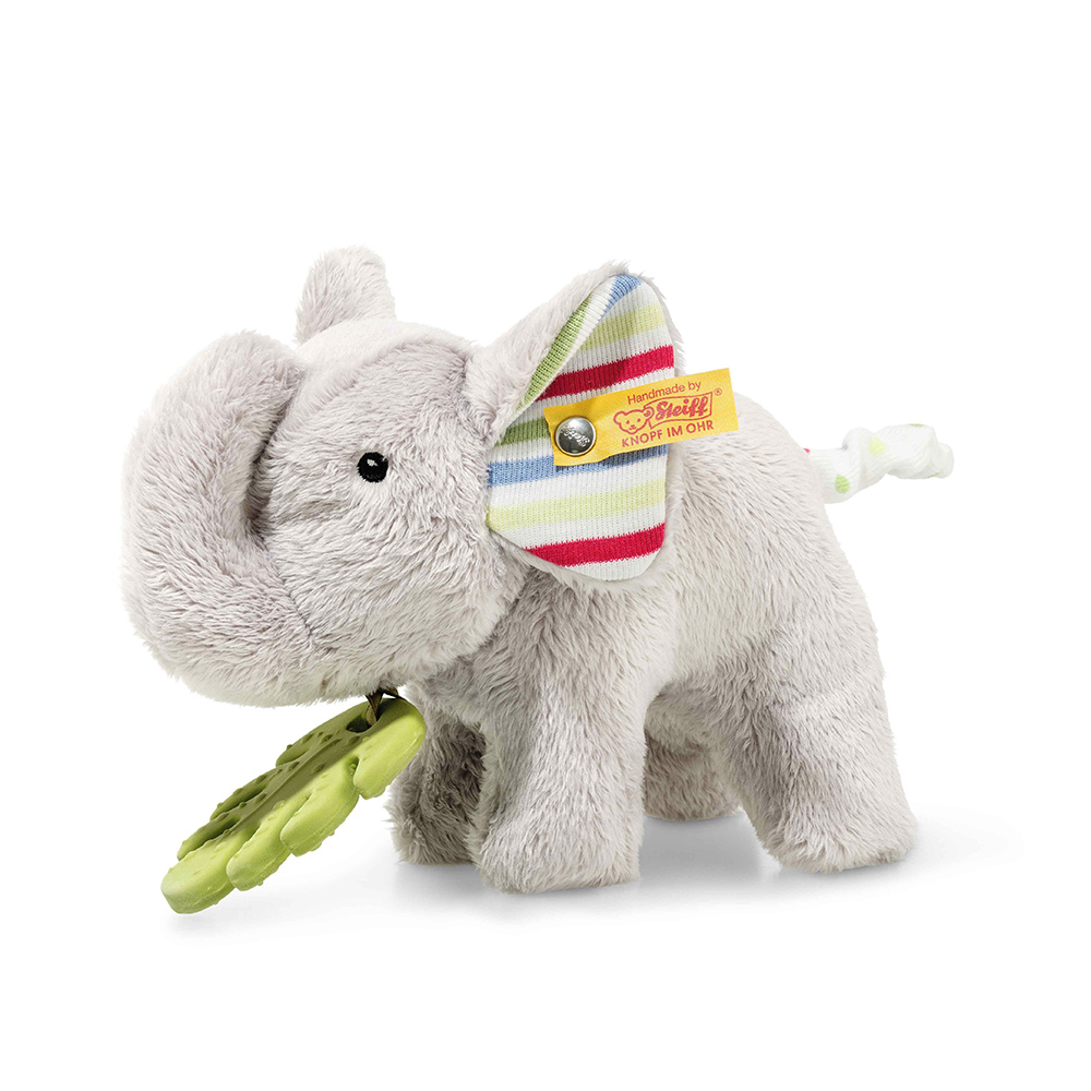 Steiff 德國金耳釦泰迪熊: Timmi Elephant with teething ring and rustling foil
