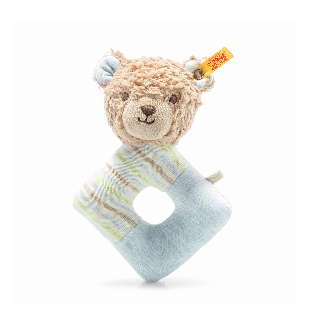 Steiff 德國金耳釦泰迪熊: Gots Rudy Teddy Bear Grip Toy with rattle